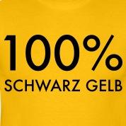 100--schwarz-gelb,-100-Prozent-schwarz-gelb,-Fussball-Fan-Shirt